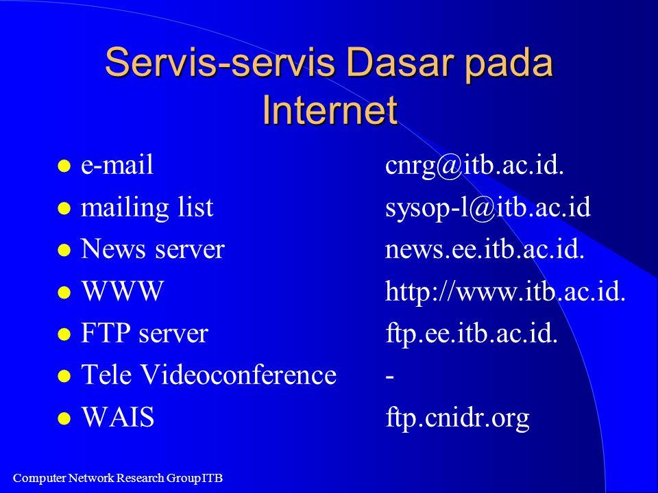 Computer Network Research Group ITB Servis-servis Dasar pada Internet l e-mailcnrg@itb.ac.id. l mailing listsysop-l@itb.ac.id l News servernews.ee.itb