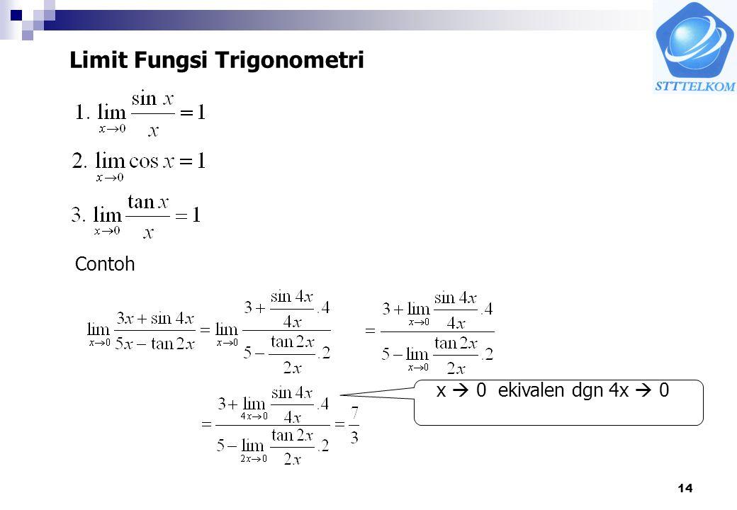 14 Limit Fungsi Trigonometri Contoh x  0 ekivalen dgn 4x  0
