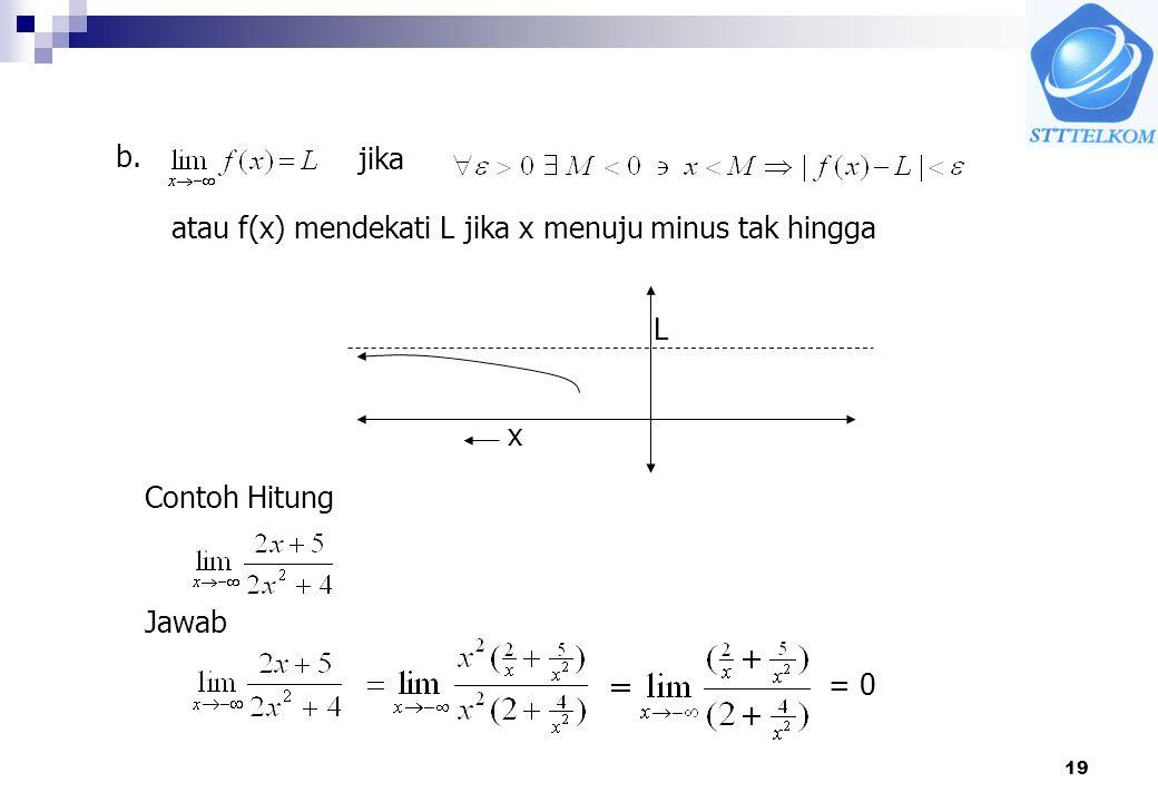 19 jika atau f(x) mendekati L jika x menuju minus tak hingga b. L x Contoh Hitung Jawab = 0