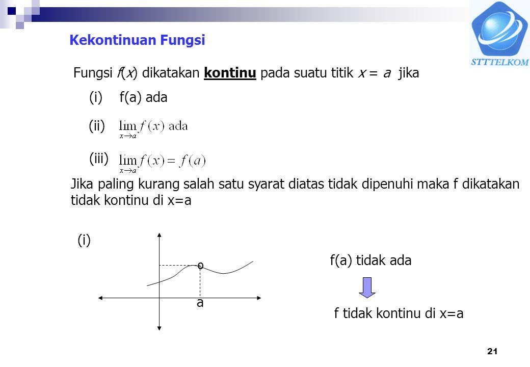 21 Kekontinuan Fungsi Fungsi f(x) dikatakan kontinu pada suatu titik x = a jika (i) f(a) ada (ii) (iii) Jika paling kurang salah satu syarat diatas ti