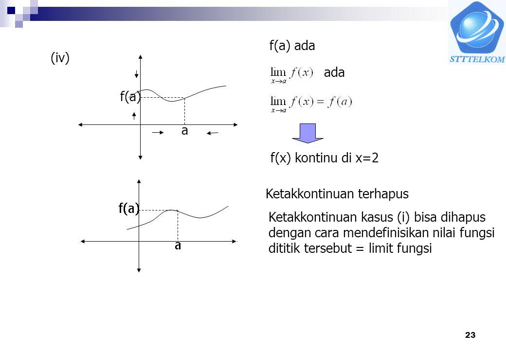 23 (iv) a f(a) f(a) ada ada f(x) kontinu di x=2 Ketakkontinuan terhapus Ketakkontinuan kasus (i) bisa dihapus dengan cara mendefinisikan nilai fungsi