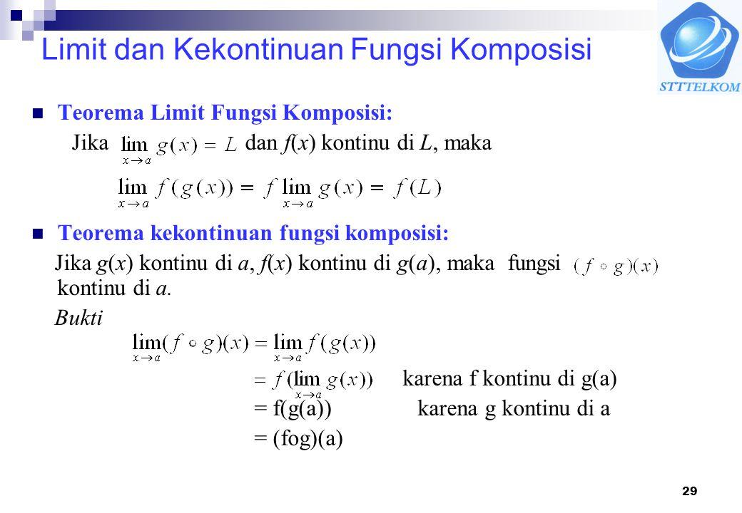 29 Limit dan Kekontinuan Fungsi Komposisi Teorema Limit Fungsi Komposisi: Jika dan f(x) kontinu di L, maka Teorema kekontinuan fungsi komposisi: Jika