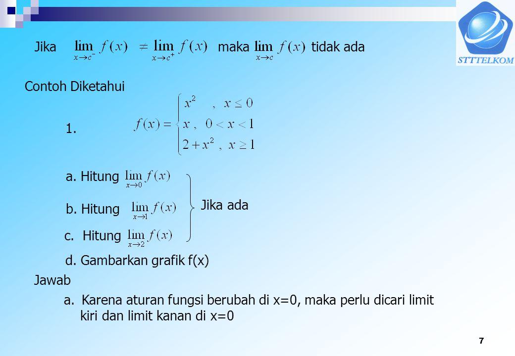 7 Jikamaka tidak ada Contoh Diketahui a. Hitung d. Gambarkan grafik f(x) Jawab a.Karena aturan fungsi berubah di x=0, maka perlu dicari limit kiri dan