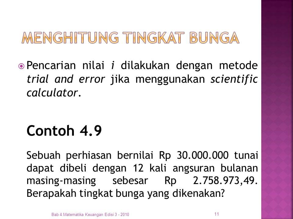  Pencarian nilai i dilakukan dengan metode trial and error jika menggunakan scientific calculator. Contoh 4.9 Sebuah perhiasan bernilai Rp 30.000.000