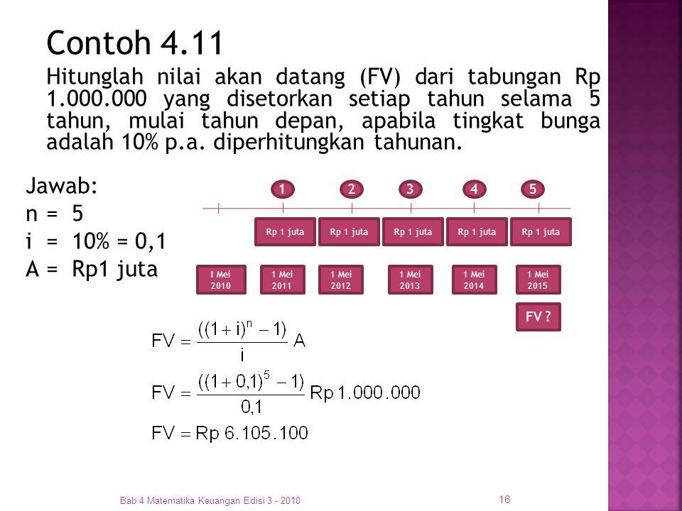 Bab 4 Matematika Keuangan Edisi 3 - 2010 16 Contoh 4.11 Hitunglah nilai akan datang (FV) dari tabungan Rp 1.000.000 yang disetorkan setiap tahun selam