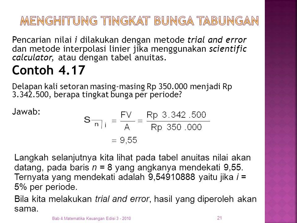 Pencarian nilai i dilakukan dengan metode trial and error dan metode interpolasi linier jika menggunakan scientific calculator, atau dengan tabel anui