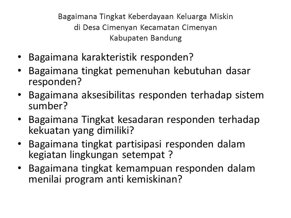 Bagaimana Tingkat Keberdayaan Keluarga Miskin di Desa Cimenyan Kecamatan Cimenyan Kabupaten Bandung Bagaimana karakteristik responden.