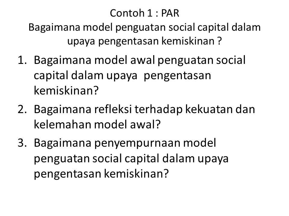 Contoh 1 : PAR Bagaimana model penguatan social capital dalam upaya pengentasan kemiskinan ? 1.Bagaimana model awal penguatan social capital dalam upa