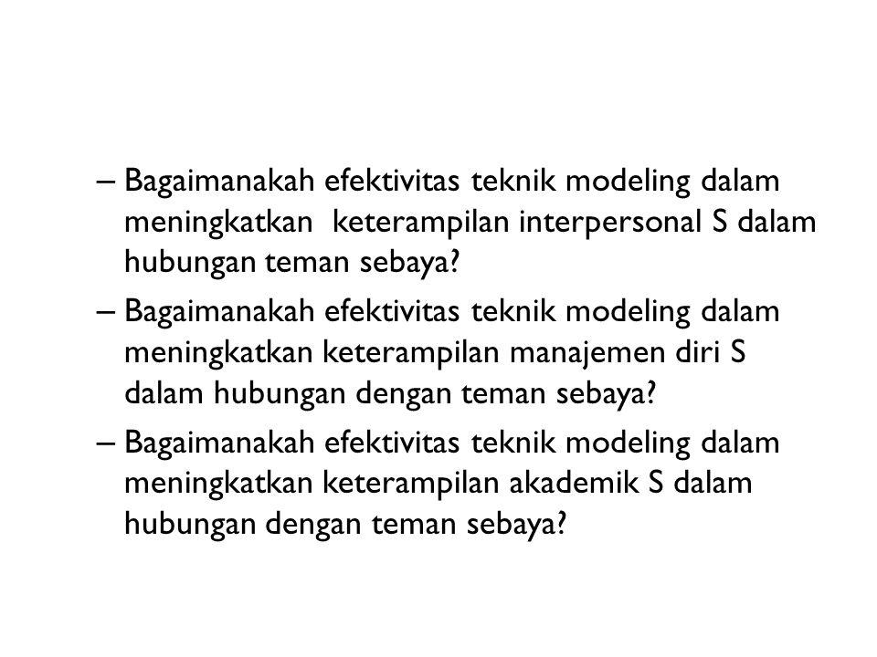 – Bagaimanakah efektivitas teknik modeling dalam meningkatkan keterampilan interpersonal S dalam hubungan teman sebaya? – Bagaimanakah efektivitas tek