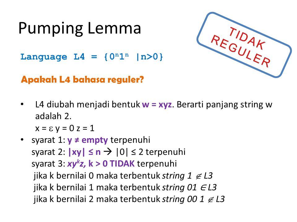 CFL Diketahui CFG ambigu berikut ini: S → AB   aaB A → a   Aa B → b Tuliskan string s dari grammar tersebut yang memiliki dua turunan paling-kiri (leftmost derivation).