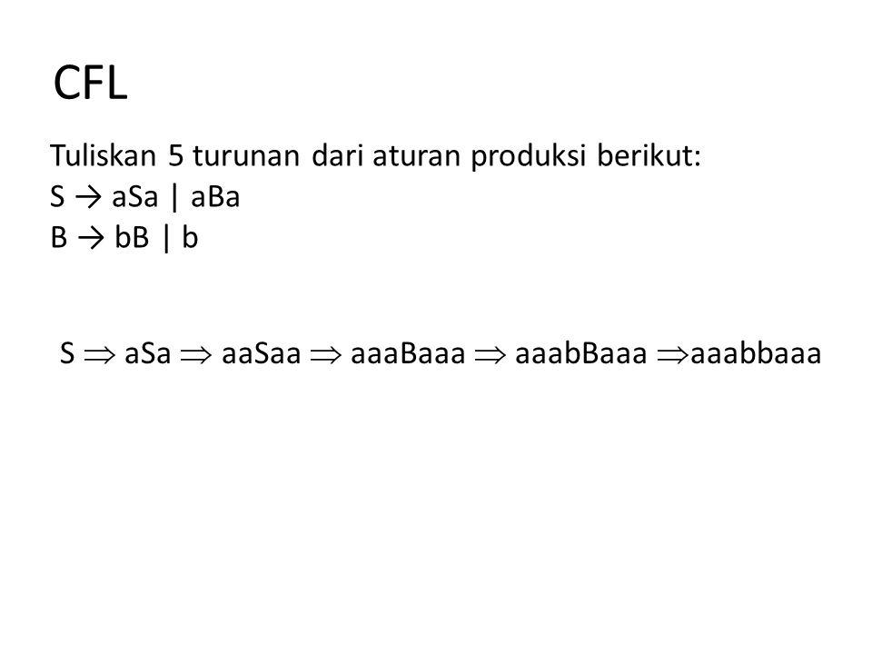 CFL Tuliskan 2 turunan dari aturan produksi berikut: S → AB A → B S  AB  BB