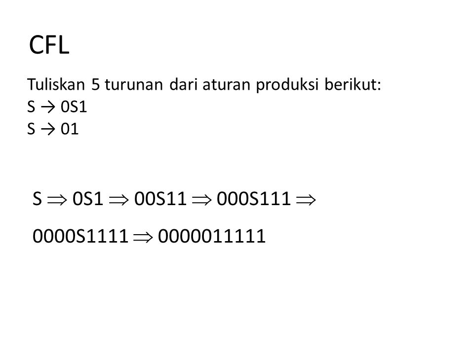CFL Tuliskan 5 turunan dari aturan produksi berikut: S → abScB    B → bB   b S  abScB  ababScBcB  ababcBcB  ababcbB  ababcbb