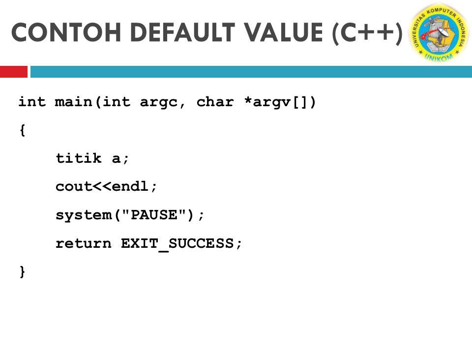 CONTOH DEFAULT VALUE (C++) int main(int argc, char *argv[]) { titik a; cout<<endl; system(