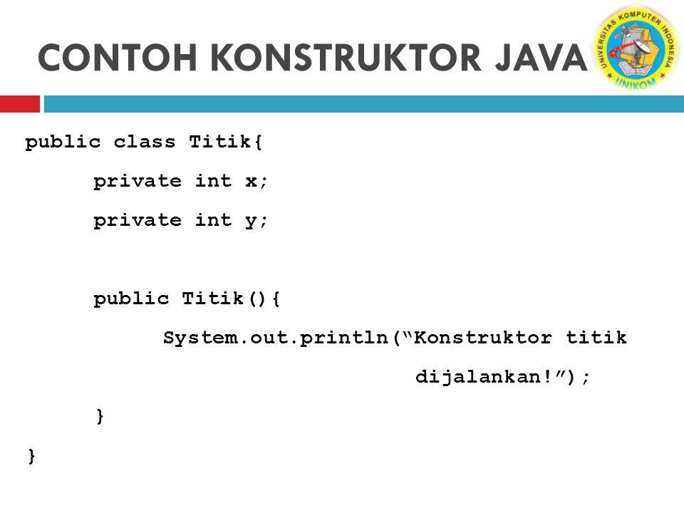 "CONTOH KONSTRUKTOR JAVA public class Titik{ private int x; private int y; public Titik(){ System.out.println(""Konstruktor titik dijalankan!""); }"