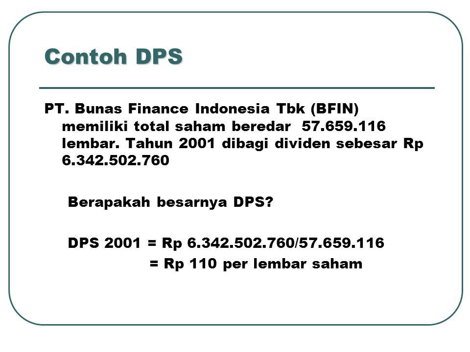 Contoh DPS PT. Bunas Finance Indonesia Tbk (BFIN) memiliki total saham beredar 57.659.116 lembar. Tahun 2001 dibagi dividen sebesar Rp 6.342.502.760 B