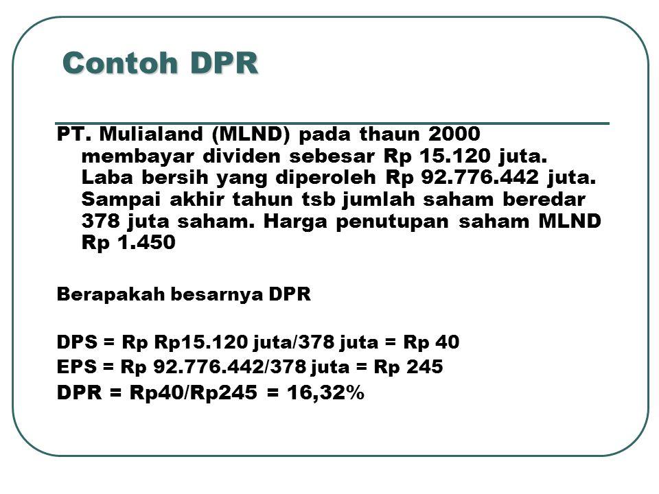 Contoh DPR PT. Mulialand (MLND) pada thaun 2000 membayar dividen sebesar Rp 15.120 juta. Laba bersih yang diperoleh Rp 92.776.442 juta. Sampai akhir t