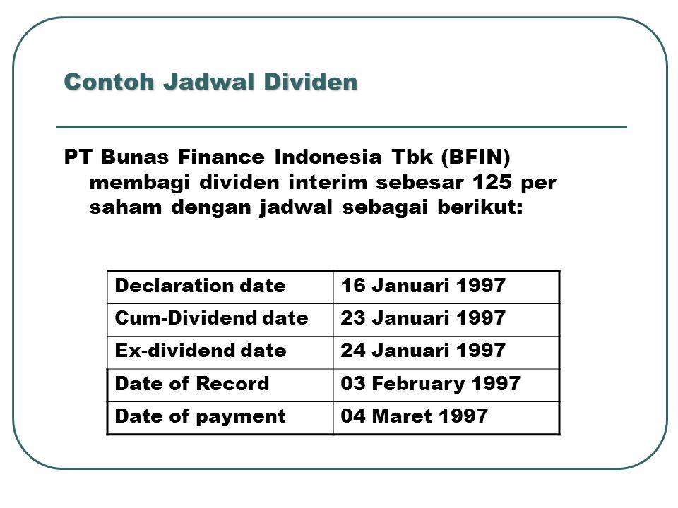 Contoh Jadwal Dividen PT Bunas Finance Indonesia Tbk (BFIN) membagi dividen interim sebesar 125 per saham dengan jadwal sebagai berikut: Declaration d