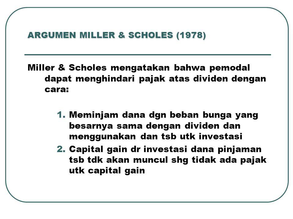 ARGUMEN MILLER & SCHOLES (1978) Miller & Scholes mengatakan bahwa pemodal dapat menghindari pajak atas dividen dengan cara: 1.Meminjam dana dgn beban