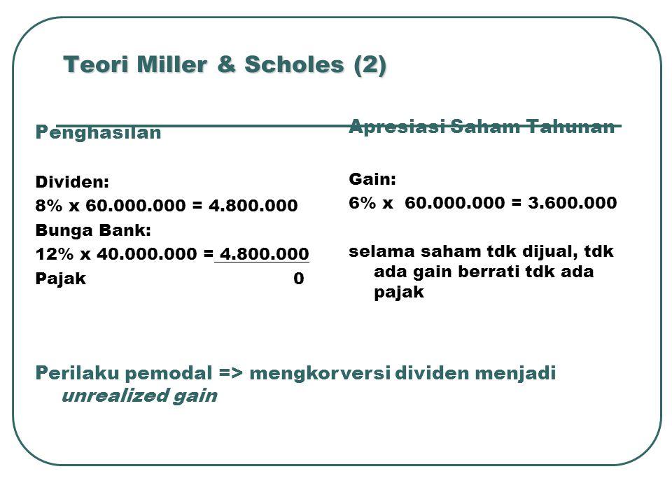 Teori Miller & Scholes (2) Penghasilan Dividen: 8% x 60.000.000 = 4.800.000 Bunga Bank: 12% x 40.000.000 = 4.800.000 Pajak 0 Apresiasi Saham Tahunan Gain: 6% x 60.000.000 = 3.600.000 selama saham tdk dijual, tdk ada gain berrati tdk ada pajak Perilaku pemodal => mengkorversi dividen menjadi unrealized gain