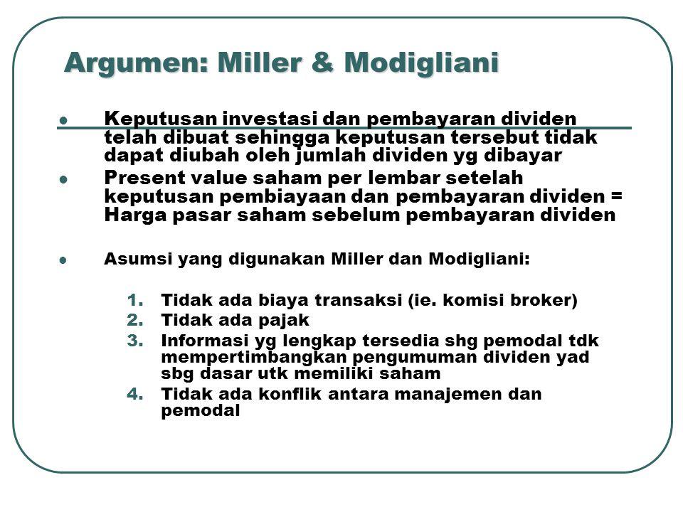 Argumen: Miller & Modigliani Keputusan investasi dan pembayaran dividen telah dibuat sehingga keputusan tersebut tidak dapat diubah oleh jumlah dividen yg dibayar Present value saham per lembar setelah keputusan pembiayaan dan pembayaran dividen = Harga pasar saham sebelum pembayaran dividen Asumsi yang digunakan Miller dan Modigliani: 1.Tidak ada biaya transaksi (ie.