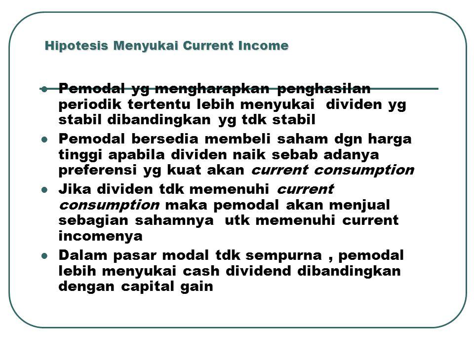 Hipotesis Menyukai Current Income Pemodal yg mengharapkan penghasilan periodik tertentu lebih menyukai dividen yg stabil dibandingkan yg tdk stabil Pe