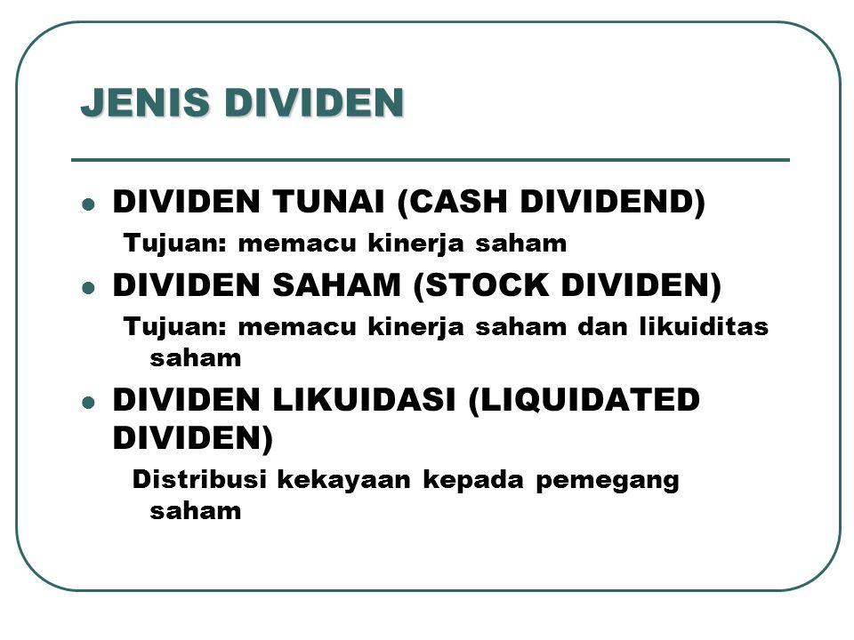 JENIS DIVIDEN DIVIDEN TUNAI (CASH DIVIDEND) Tujuan: memacu kinerja saham DIVIDEN SAHAM (STOCK DIVIDEN) Tujuan: memacu kinerja saham dan likuiditas sah