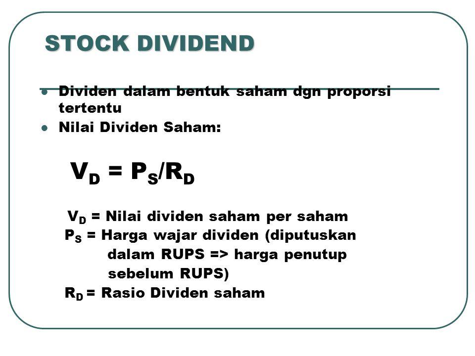 STOCK DIVIDEND Dividen dalam bentuk saham dgn proporsi tertentu Nilai Dividen Saham: V D = P S /R D V D = Nilai dividen saham per saham P S = Harga wa