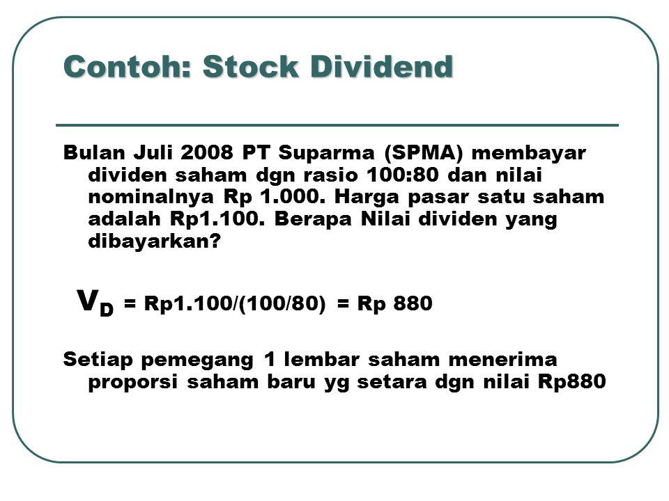 Stock dividen tdk mempengaruhi total ekuitas, hanya mempengaruhi struktur modal CONTOH: Struktur modal sbl stock Dividend adalah sbb: Modal Saham 100.000 lb @ Rp 1.000 Rp 100.000.000 Agio Saham 20.000.000 Laba Ditahan 680.000.000 Modal Sendiri 800.000.000 Perusahaam membagi stock dividend sebesar 5% dari saham beredar dengan harga pasar Rp 6.000 per lembar.