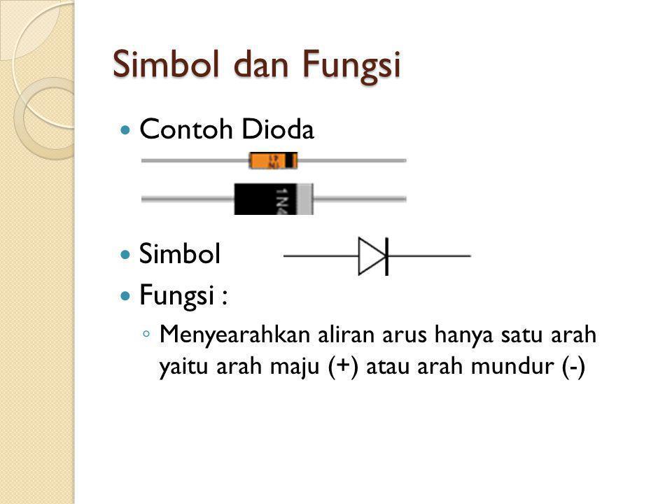 Simbol dan Fungsi Contoh Dioda Simbol Fungsi : ◦ Menyearahkan aliran arus hanya satu arah yaitu arah maju (+) atau arah mundur (-)