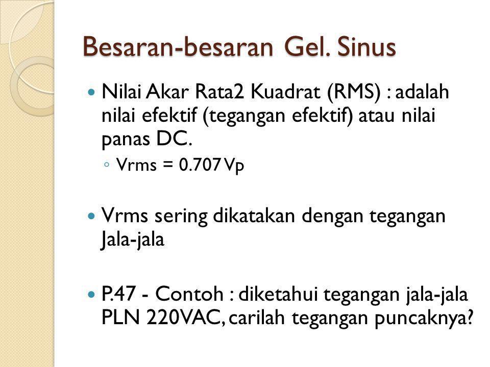 Besaran-besaran Gel. Sinus Nilai Akar Rata2 Kuadrat (RMS) : adalah nilai efektif (tegangan efektif) atau nilai panas DC. ◦ Vrms = 0.707 Vp Vrms sering