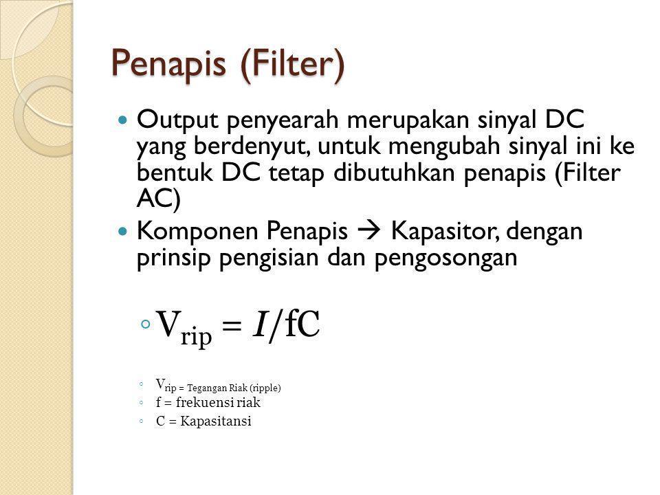Penapis (Filter) Output penyearah merupakan sinyal DC yang berdenyut, untuk mengubah sinyal ini ke bentuk DC tetap dibutuhkan penapis (Filter AC) Komponen Penapis  Kapasitor, dengan prinsip pengisian dan pengosongan ◦ V rip = I/fC ◦ V rip = Tegangan Riak (ripple) ◦ f = frekuensi riak ◦ C = Kapasitansi
