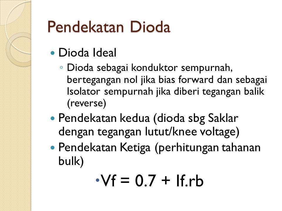 Pendekatan Dioda Dioda Ideal ◦ Dioda sebagai konduktor sempurnah, bertegangan nol jika bias forward dan sebagai Isolator sempurnah jika diberi tegangan balik (reverse) Pendekatan kedua (dioda sbg Saklar dengan tegangan lutut/knee voltage) Pendekatan Ketiga (perhitungan tahanan bulk)  Vf = 0.7 + If.rb