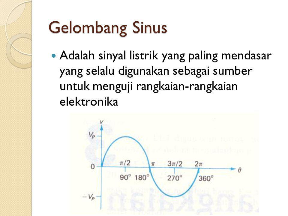 Gelombang Sinus Adalah sinyal listrik yang paling mendasar yang selalu digunakan sebagai sumber untuk menguji rangkaian-rangkaian elektronika