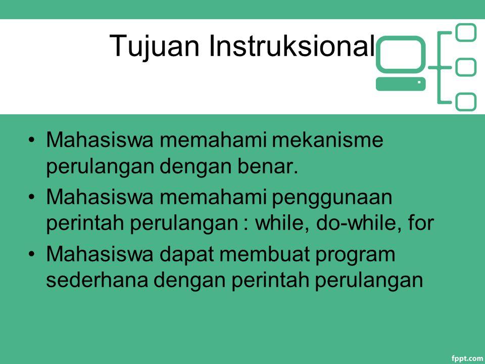 Tujuan Instruksional Mahasiswa memahami mekanisme perulangan dengan benar. Mahasiswa memahami penggunaan perintah perulangan : while, do-while, for Ma