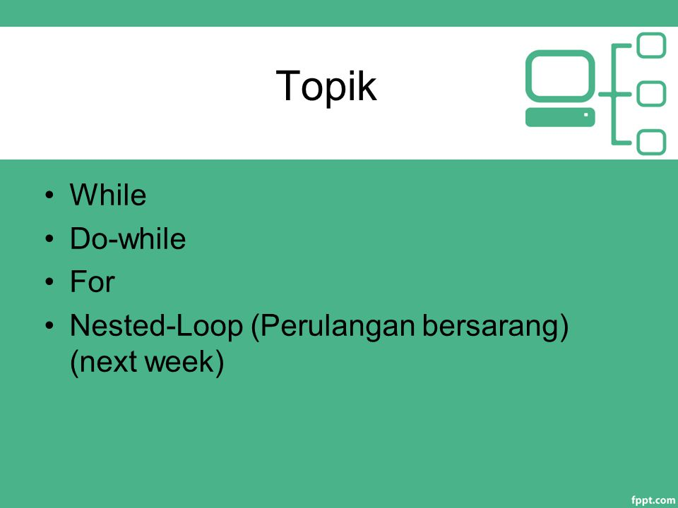 Latihan Buat flowchart dan program untuk menampilkan bintang menggunakan nested loop : **** **** * 36