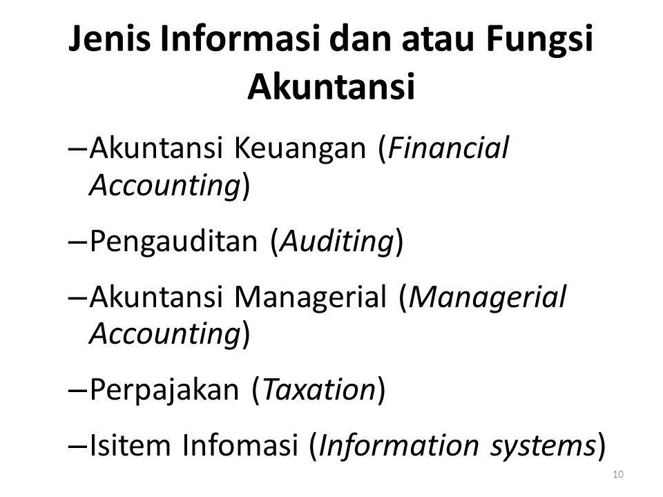 Jenis Informasi dan atau Fungsi Akuntansi – Akuntansi Keuangan (Financial Accounting) – Pengauditan (Auditing) – Akuntansi Managerial (Managerial Acco