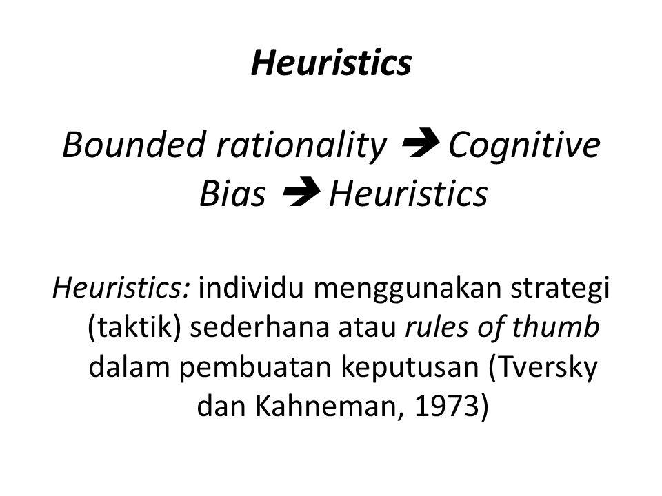 Heuristics The Availability Heuristics Contoh: Manakah yang menyebabkan kematian lebih banyak di AS: (a) Kanker perut, atau (b) Kecelakaan kendaraan The Representativeness Heuristics Contoh: Kasus kelahiran bayi di rumah sakit besar dan kecil Anchoring and Adjustment Contoh: Kasus referent point