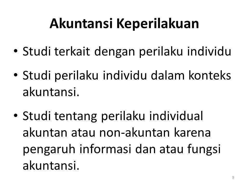Akuntansi Keperilakuan Studi terkait dengan perilaku individu Studi perilaku individu dalam konteks akuntansi. Studi tentang perilaku individual akunt