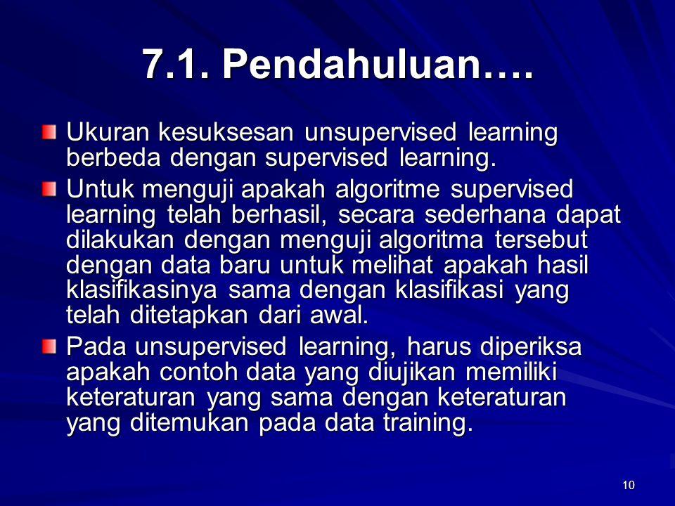 10 7.1. Pendahuluan…. Ukuran kesuksesan unsupervised learning berbeda dengan supervised learning. Untuk menguji apakah algoritme supervised learning t
