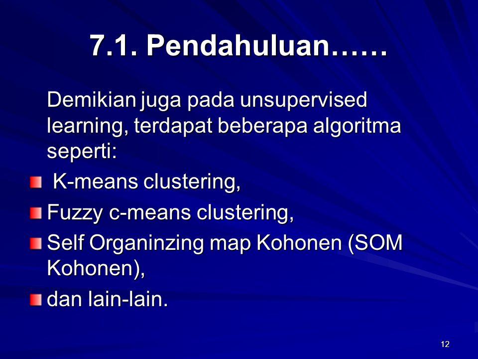12 7.1. Pendahuluan…… Demikian juga pada unsupervised learning, terdapat beberapa algoritma seperti: K-means clustering, K-means clustering, Fuzzy c-m