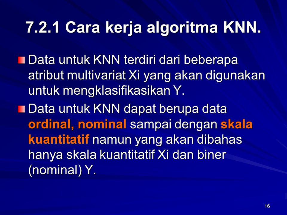 16 7.2.1 Cara kerja algoritma KNN. Data untuk KNN terdiri dari beberapa atribut multivariat Xi yang akan digunakan untuk mengklasifikasikan Y. Data un