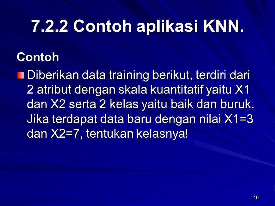 19 7.2.2 Contoh aplikasi KNN. Contoh Diberikan data training berikut, terdiri dari 2 atribut dengan skala kuantitatif yaitu X1 dan X2 serta 2 kelas ya