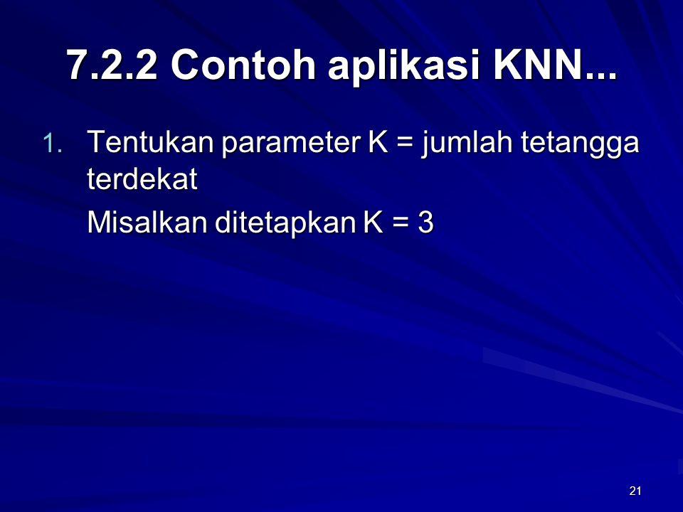 21 7.2.2 Contoh aplikasi KNN... 1. Tentukan parameter K = jumlah tetangga terdekat Misalkan ditetapkan K = 3