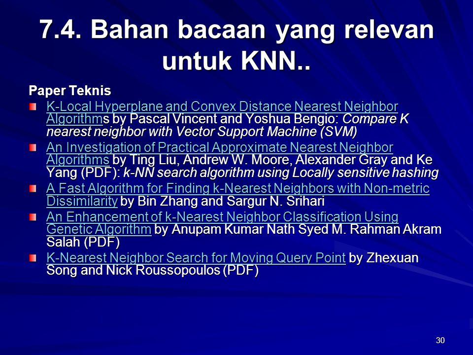 30 7.4. Bahan bacaan yang relevan untuk KNN.. Paper Teknis K-Local Hyperplane and Convex Distance Nearest Neighbor AlgorithmK-Local Hyperplane and Con