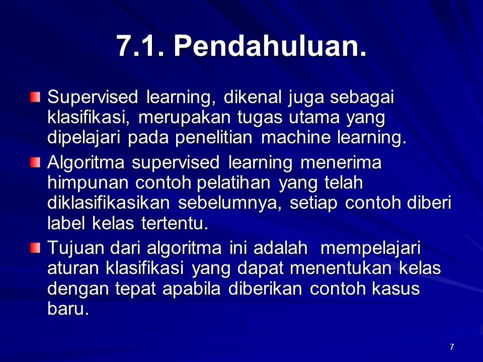7 7.1. Pendahuluan. Supervised learning, dikenal juga sebagai klasifikasi, merupakan tugas utama yang dipelajari pada penelitian machine learning. Alg
