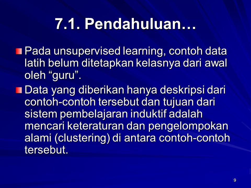"9 7.1. Pendahuluan… Pada unsupervised learning, contoh data latih belum ditetapkan kelasnya dari awal oleh ""guru"". Data yang diberikan hanya deskripsi"