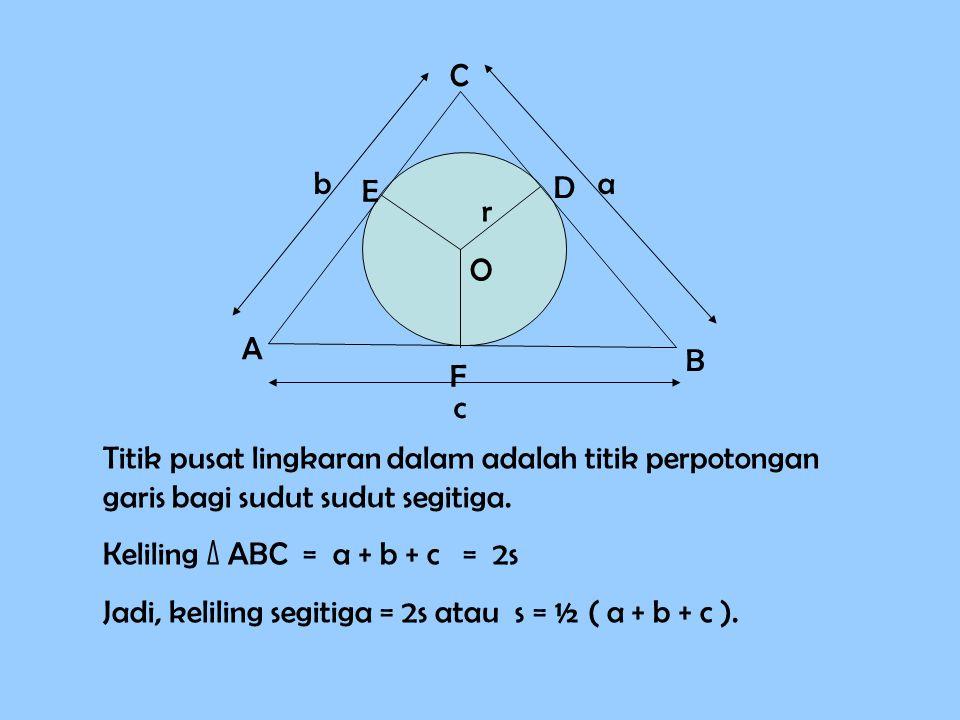 A O D E F C B r a c b Titik pusat lingkaran dalam adalah titik perpotongan garis bagi sudut segitiga. Keliling ∆ ABC = a + b + c = 2s Jadi, keliling s