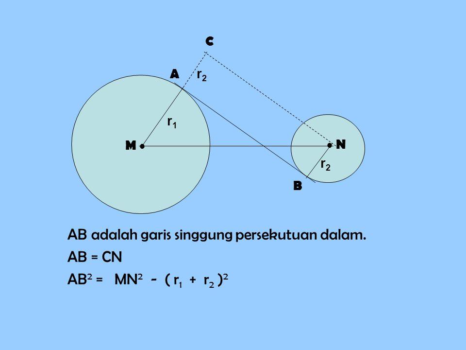 MN 2 = AB 2 + ( r1 r1 + r2 r2 )2)2 26 2 = 24 2 + ( 7 + r )2)2 676 = 576 + ( 7 + r )2)2 ( 7 + r ) 2 = 676 – 576 = 100 ( 7 + r ) =  = 10 7 + r = 10 r = 10 – 7 r = 3 Jadi, jari-jari BN adalah 3 cm.