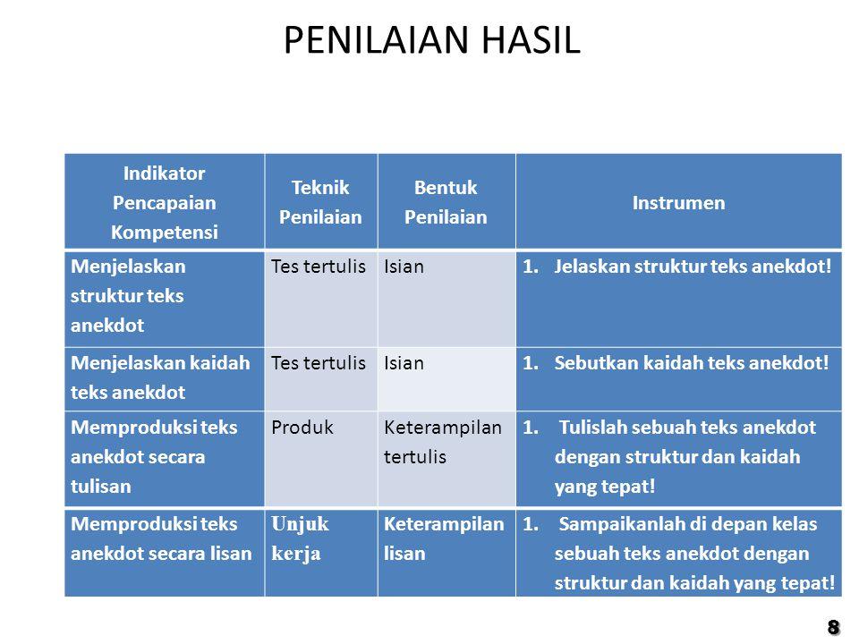 PENILAIAN HASIL 8 Indikator Pencapaian Kompetensi Teknik Penilaian Bentuk Penilaian Instrumen Menjelaskan struktur teks anekdot Tes tertulisIsian1.Jel