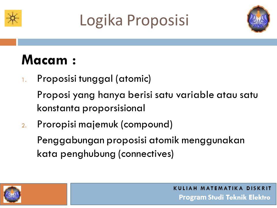 Logika Proposisi KULIAH MATEMATIKA DISKRIT Program Studi Teknik Elektro Macam : 1. Proposisi tunggal (atomic) Proposi yang hanya berisi satu variable